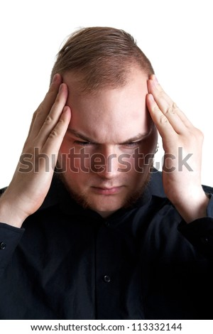 Sad man with hands on head isolated on white - stock photo
