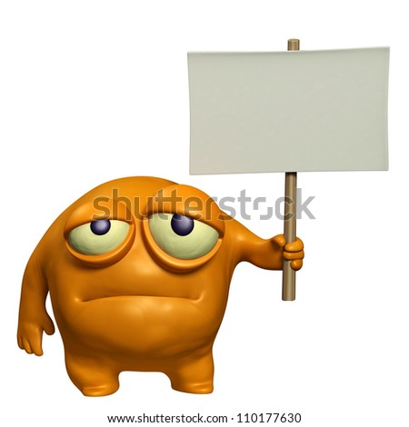 sad monster holding placard - stock photo