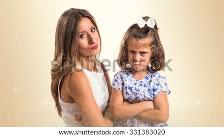 Sad mother and daughter  - stock photo