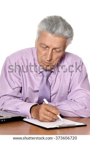 sad old man sitting on a background