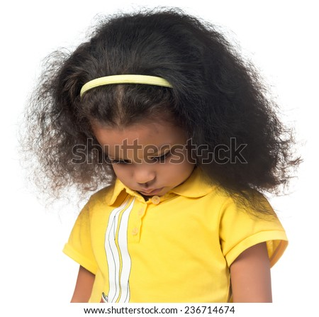 Sad or shy african american small girl looking down isolated on white - stock photo