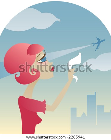 Sad retro style girl waves goodbye with her hanky, as an airplane takes off into the sky - stock photo