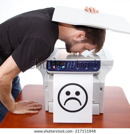 Sad smile on scan of man face  - stock photo