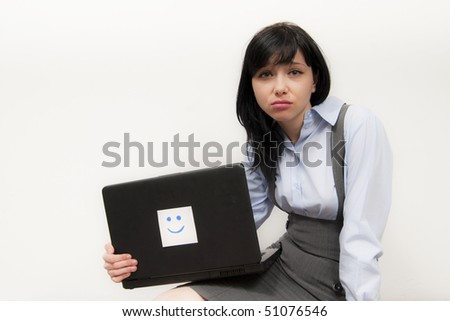 Sad Student Girl with Happy Computer - stock photo
