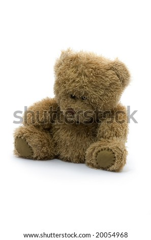 Sad teddy bear isolated on white background