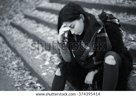 Sad teen girl outdoor feeling depressed