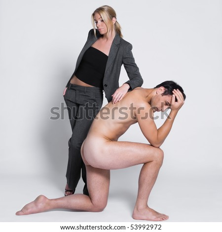 sad thinking young couple with man naked in studio on isolated grey background