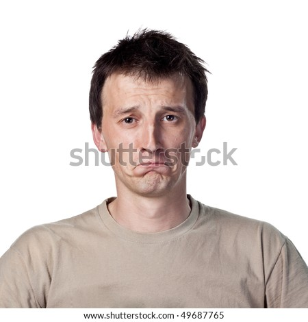 Sad white man - stock photo