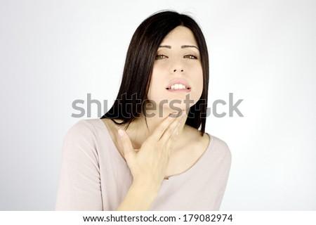 sad woman feeling sick having respiratory difficulties - stock photo