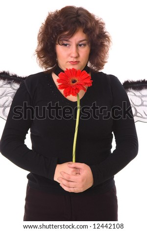 sad woman with daisy isolated on white - stock photo