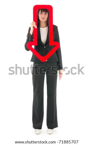 Sad woman with red arrow downwards, on white background. - stock photo
