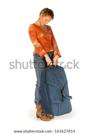 Sad Woman with suitcase