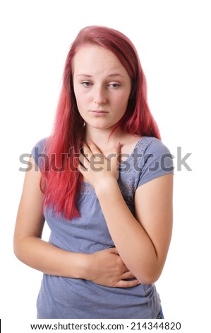 sad young woman feeling emotional - stock photo