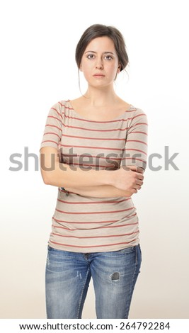Sad Young Woman Portrait. - stock photo