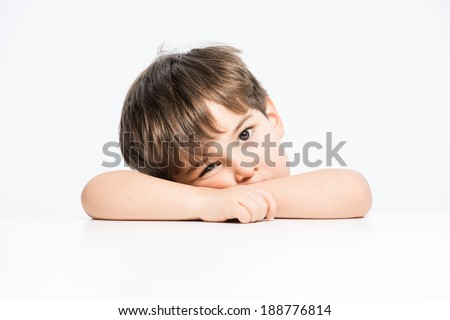 Sadand unhappy id with sorrow expression white background - stock photo