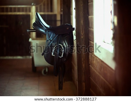 Saddle is hanging inside the horse stable