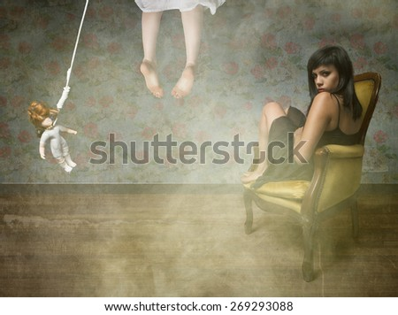sadic girl in a suicide situation - stock photo