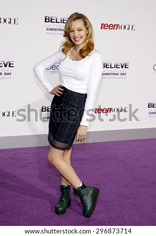 "Sadie Calvano at the World premiere of ""Justin Bieber's Believe"" held at the Regal Cinemas L.A. Live in Los Angeles on December 18, 2013 in Los Angeles, California.   - stock photo"