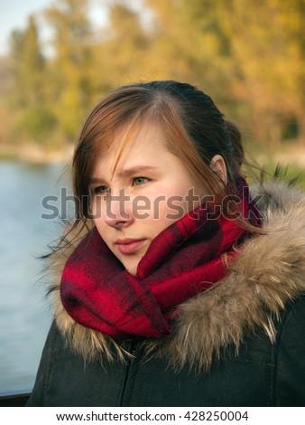Sadness,portrait of teen girl - stock photo