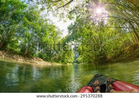 Safari Canoeing on Kao Sok River, Thailand - stock photo