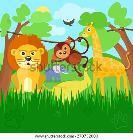 Safari concept. Cute african safari animals cartoon characters scene on background with trees. Raster version - stock photo
