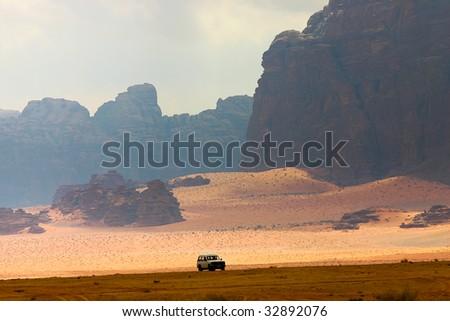 safari in desert wadi rum - stock photo