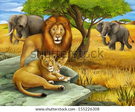 Safari - lions and elephants - illustration for the children - stock photo