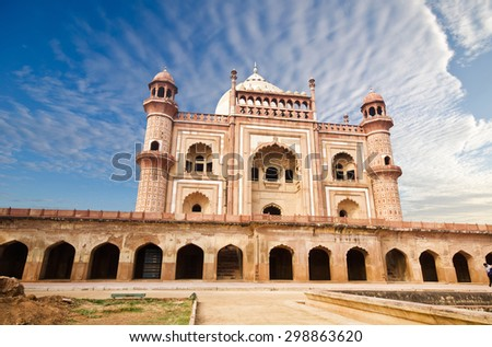 Safdarjung's Tomb is a sandstone and marble mausoleum in New Delhi, India.  - stock photo