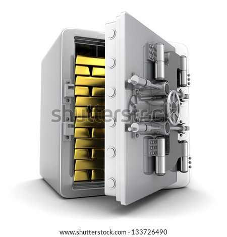 Safe and gold (done in 3d) - stock photo
