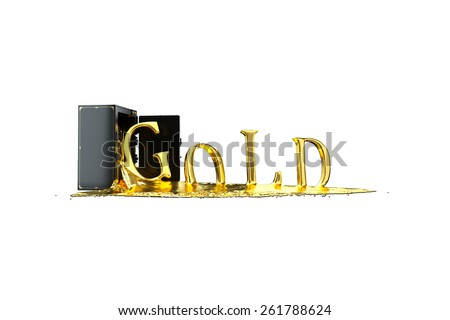 Safe and liquid gold. Gold rises gold symbol. Path included. Perfect for advertising models. Save in days of sales - stock photo
