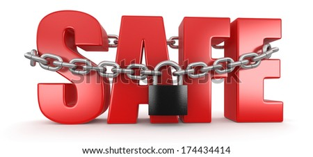 Safe and lock (clipping path included) - stock photo