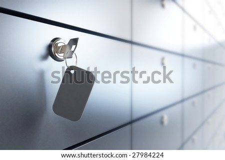 Safe bank and key to the safe - stock photo