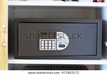 Safe box with electronic lock in the hotel
