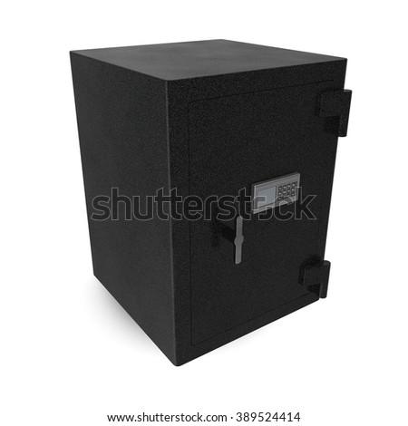 Safe box with electronic lock on white - stock photo