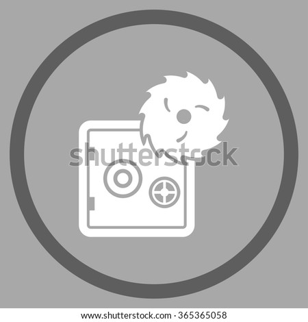 Safe Breaking glyph icon. Style is bicolor flat circled symbol, dark gray and white colors, rounded angles, silver background. - stock photo