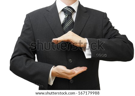 safe business concept businessman hands in protection shape - stock photo