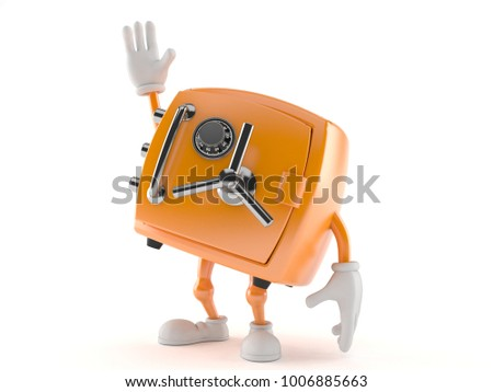 Safe character with hand up isolated on white background. 3d illustration
