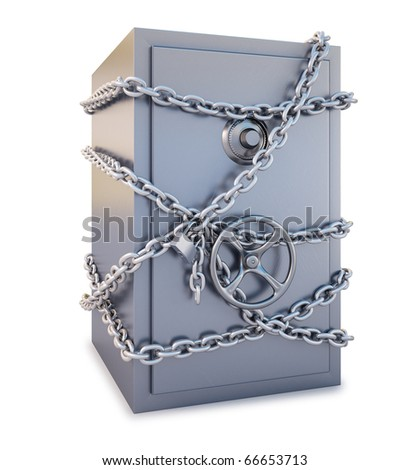 Safe clad in steel chain with a lock. isolated on white. with clipping path. - stock photo
