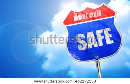 safe, 3D rendering, blue street sign