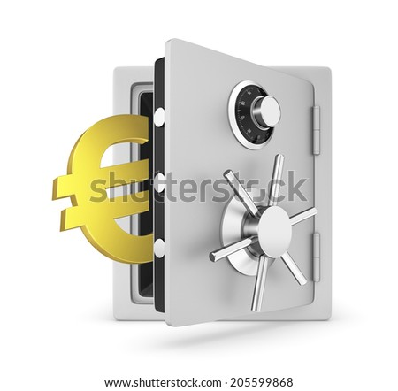 Safe door opened with Euro sign