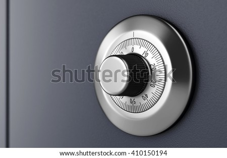Safe door with code dial. Close-up of combination lock. Security concept.  3D illustration