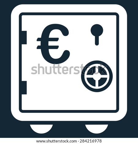 Safe euro from BiColor Euro Banking Icon Set. Glyph style: flat, white symbol, rounded angles, dark blue background. - stock photo