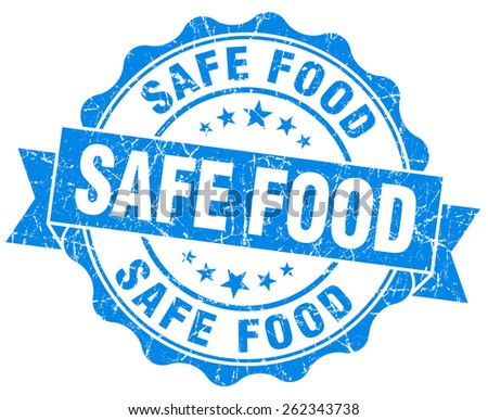 safe food blue grunge seal isolated on white