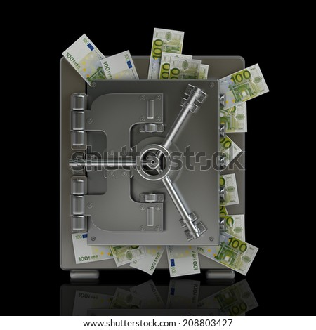 Safe full of fifty euro notes isolated on black background High resolution 3d