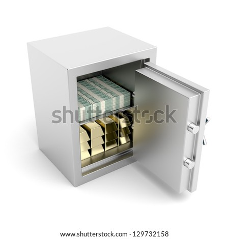 Safe full with golden bars and cash - stock photo