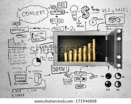 safe in concrete wall with money and drawing concept - stock photo