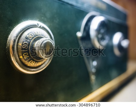 Safe lock code on safety box bank - stock photo