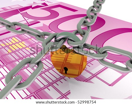 Safe money. Euro bill and crossed chains with lock. High quality 3d render. - stock photo