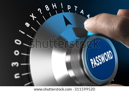 Safe password concept, man hand about to enter a complex password - stock photo