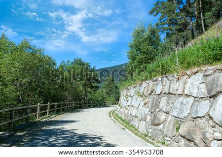 safe path for walks in the mountains